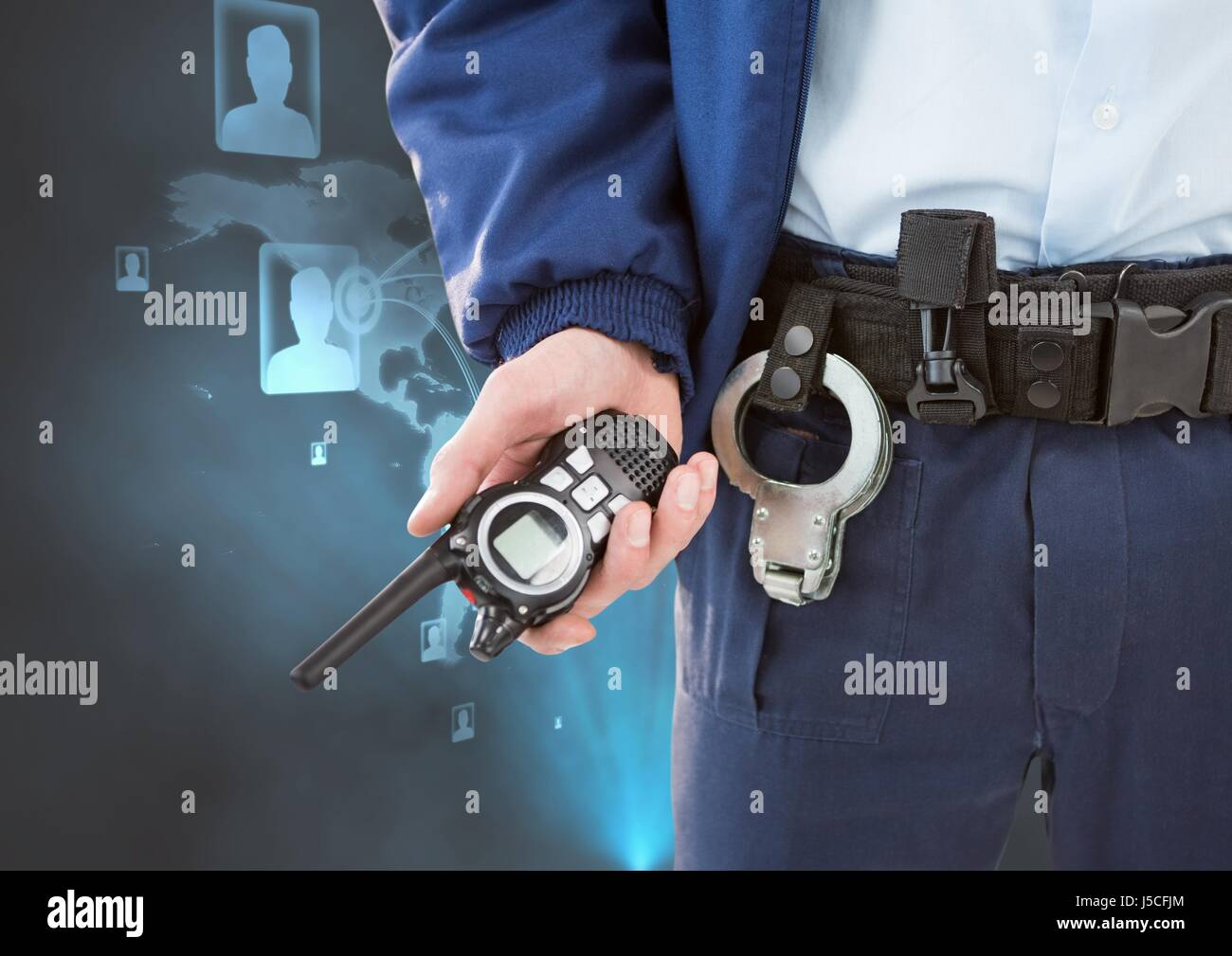 Digital composite of Midsection of security guard holding radio - Stock Image