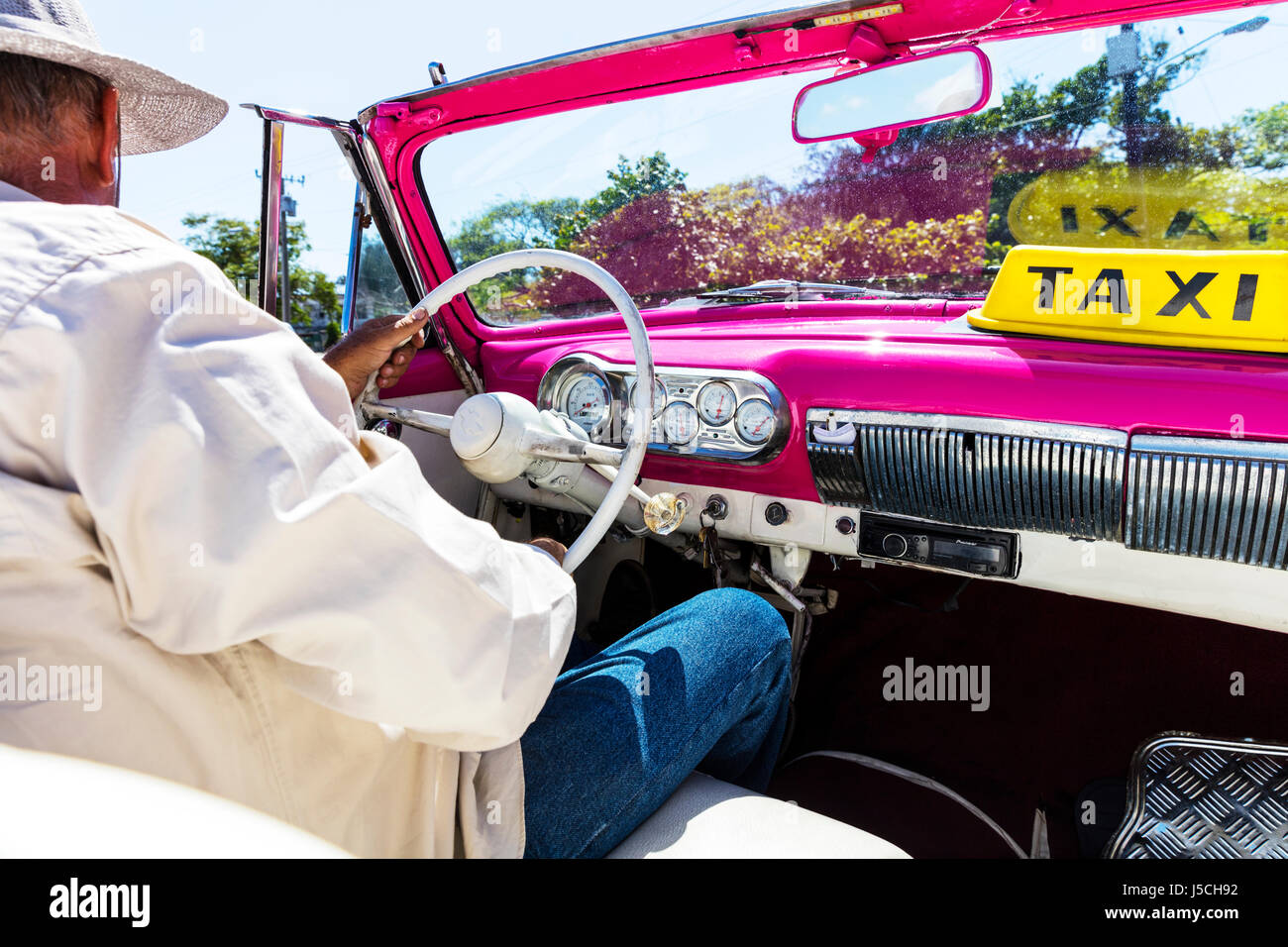 Cuban Taxi ride inside taxi Cuba taxis old American classic car ...