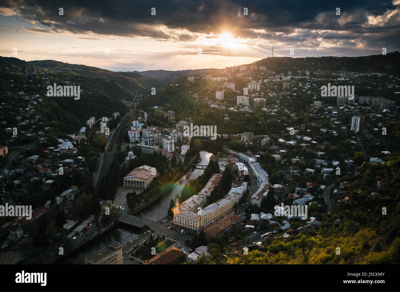 Aerial view from the cable car of Chiatura at sunset. Georgia. - Stock Image