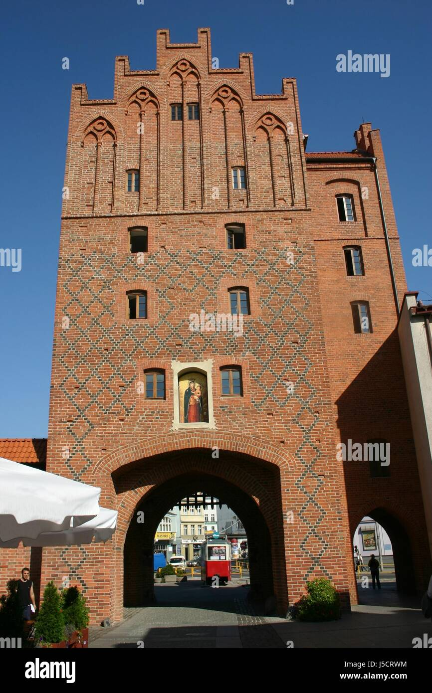 blue historical goal passage gate archgway gantry tram city poland restores - Stock Image