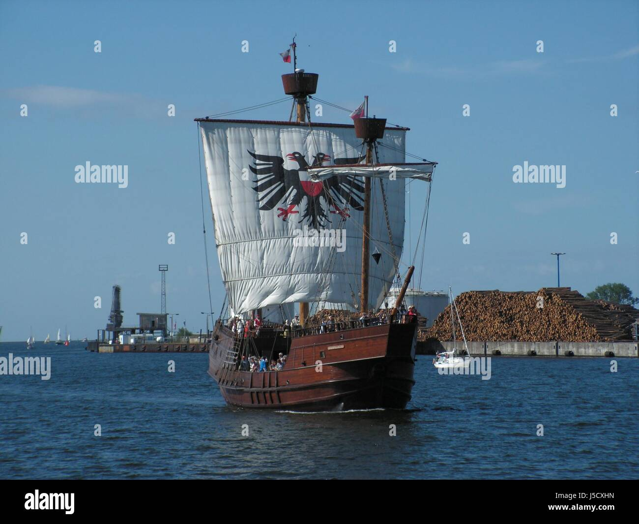 wood harbor sail water baltic sea salt water sea ocean Hanseatic city dew - Stock Image