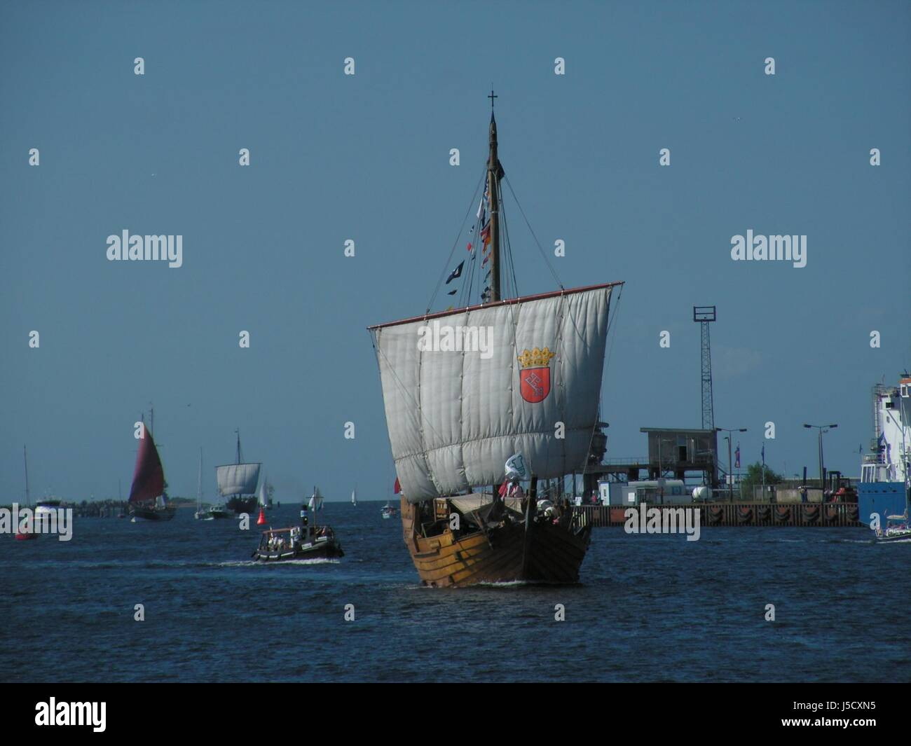 harbor sail water baltic sea salt water sea ocean Hanseatic city dew harbours - Stock Image