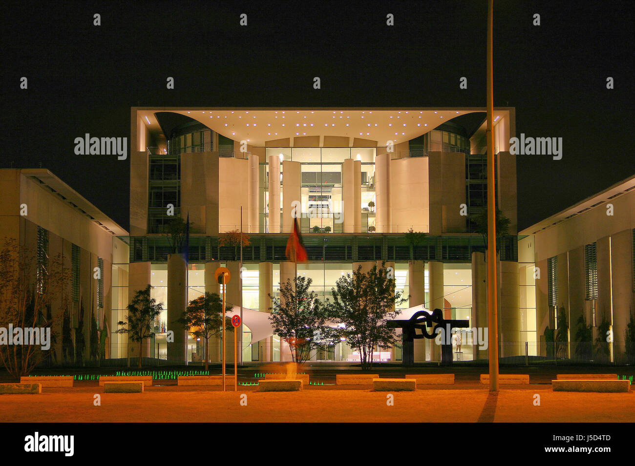 federal chancellery at night Stock Photo