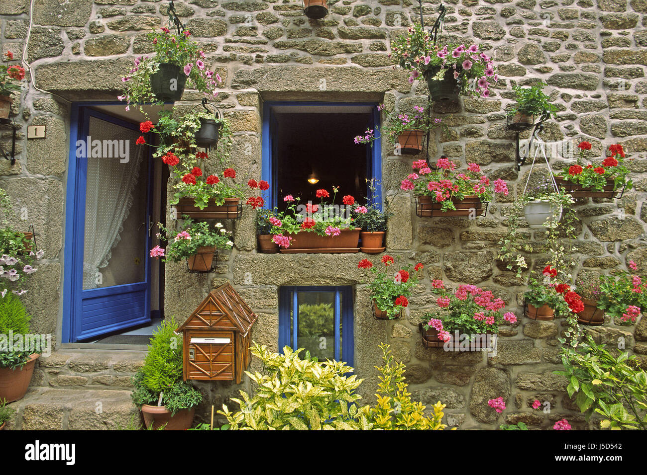 Flower Flowers Plant Door France Mailbox Doors Brittany Stone House Stock Photo Alamy