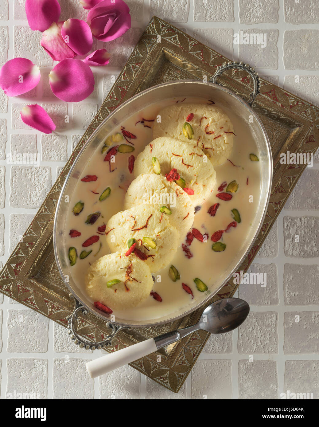 Rasmalai. Indian cream dessert. India Food - Stock Image