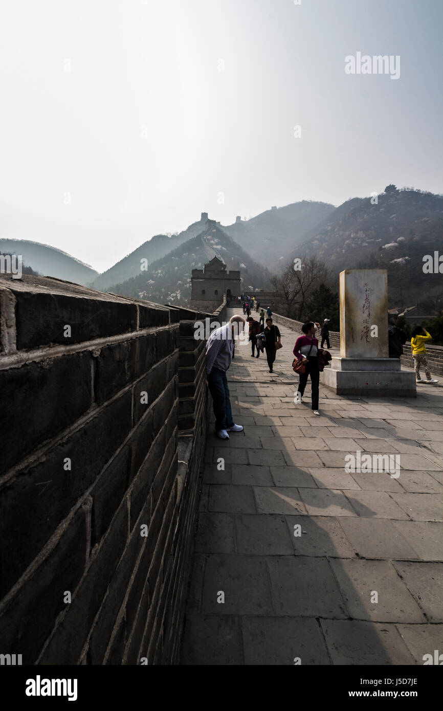 BEIJING, CHINA- CIRCA MARCH 2014:-The great wall stretches for over 4000km separating the China from Mongolia. Stock Photo