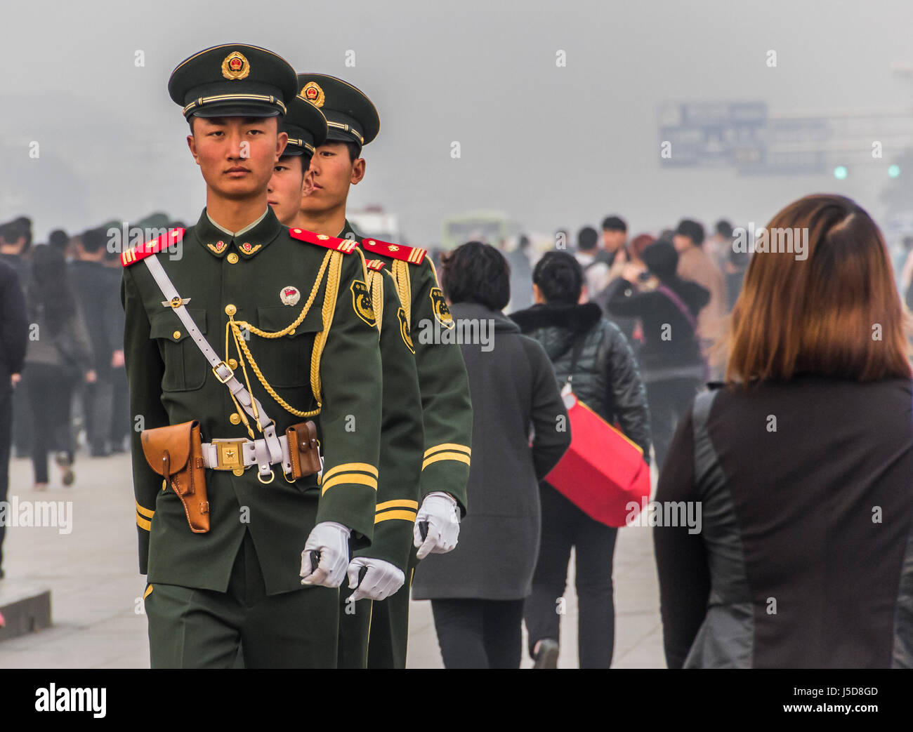 BEIJING, CHINA-26th MARCH 2014:- The Soldiers are in Tianamen square entrance to the Forbidden City Stock Photo