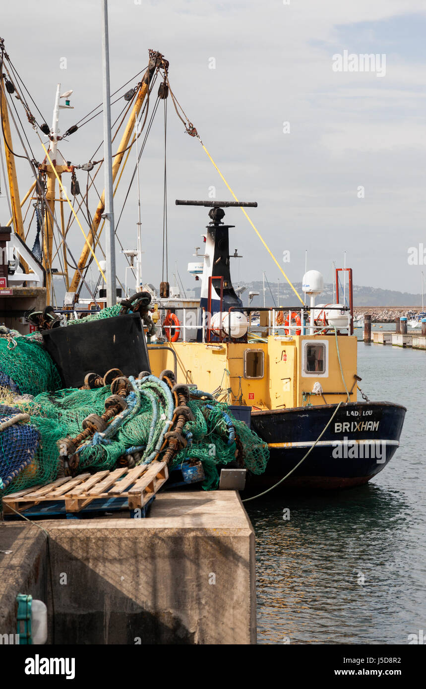 A Brixham trawler in Brixham harbour, South Devon, England - Stock Image