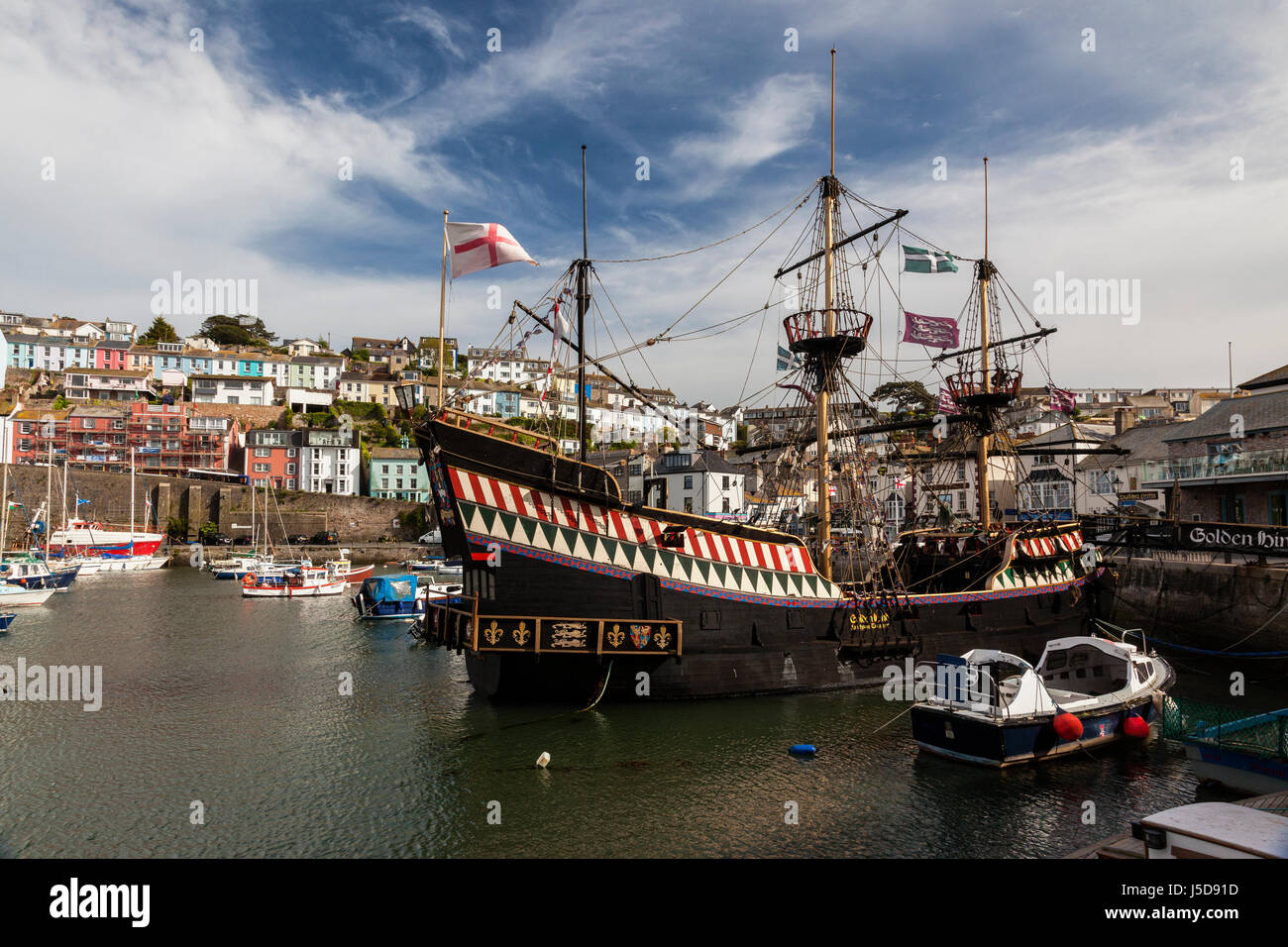 A replica of The Golden Hind captained by Sir Francis Drake, Brixham harbour, South Devon, England - Stock Image