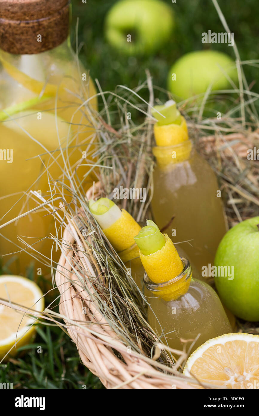 Refreshing lemonade with apple and lemon in a picnic basket. Cold summer drinks in garden Stock Photo
