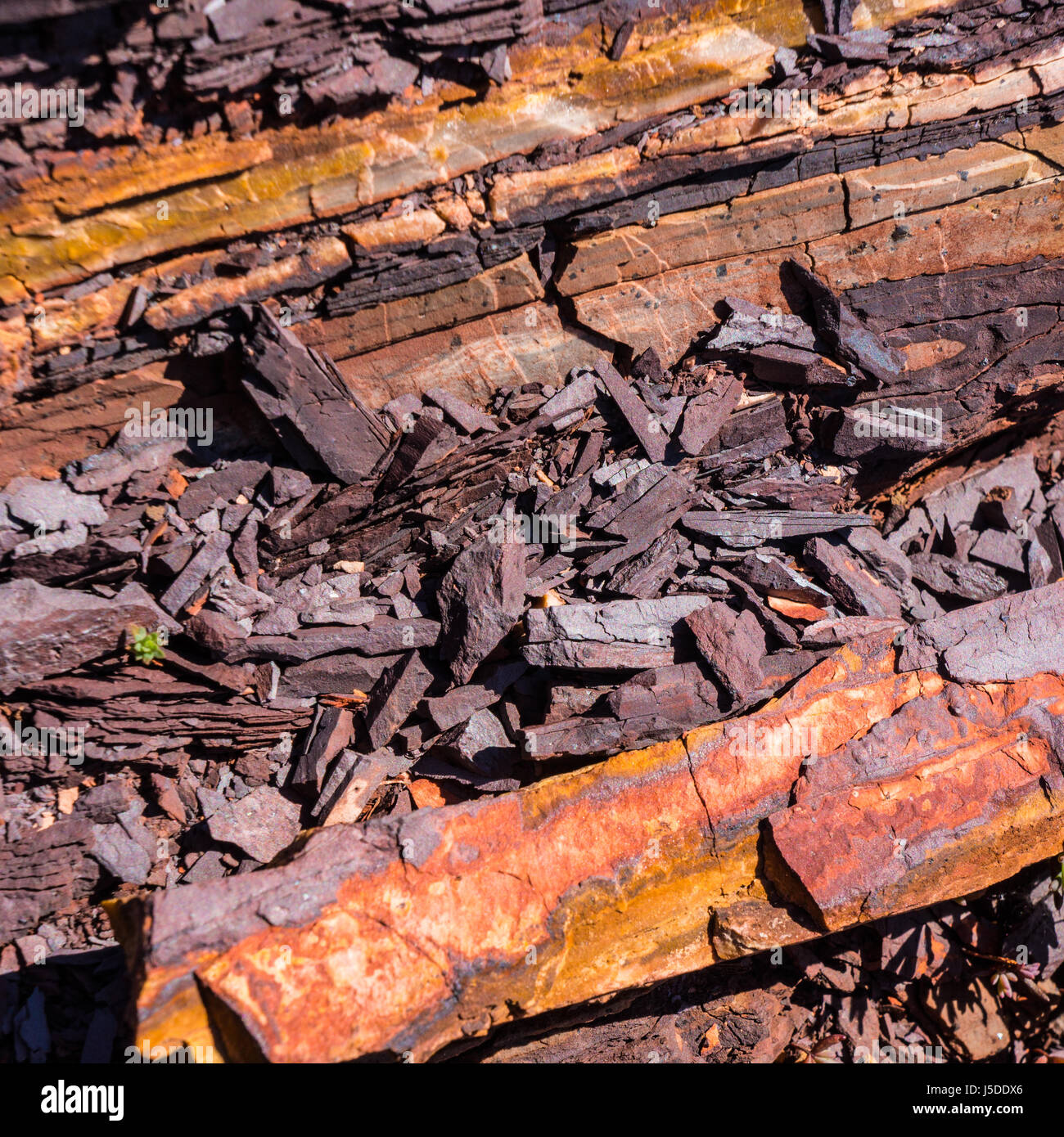 natural hematite specimen is a common mineral form of iron oxide - Stock Image