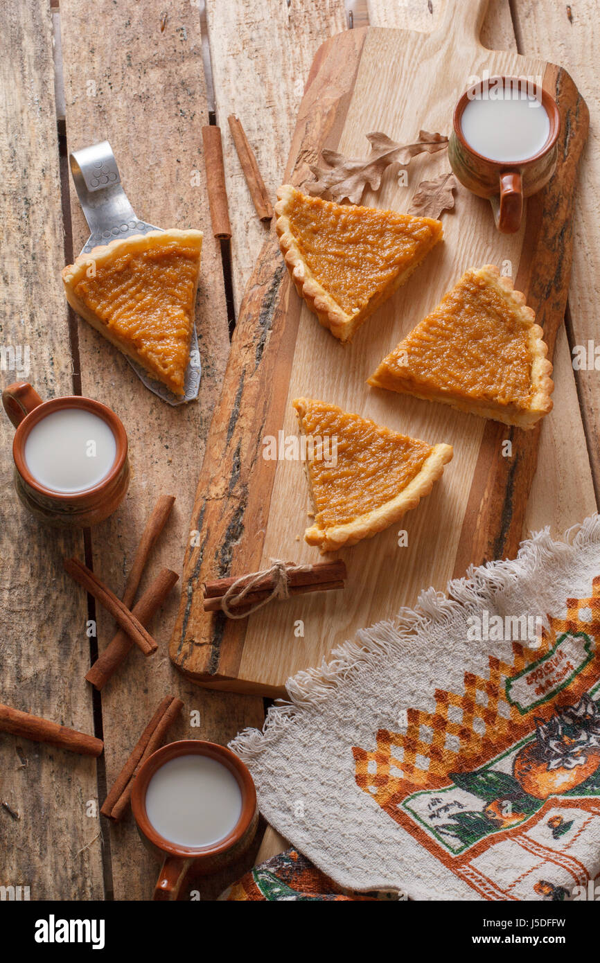 Fresh Homemade Pumpkin Pie Made For Thanksgiving On A Wooden Background Rustic Country Style
