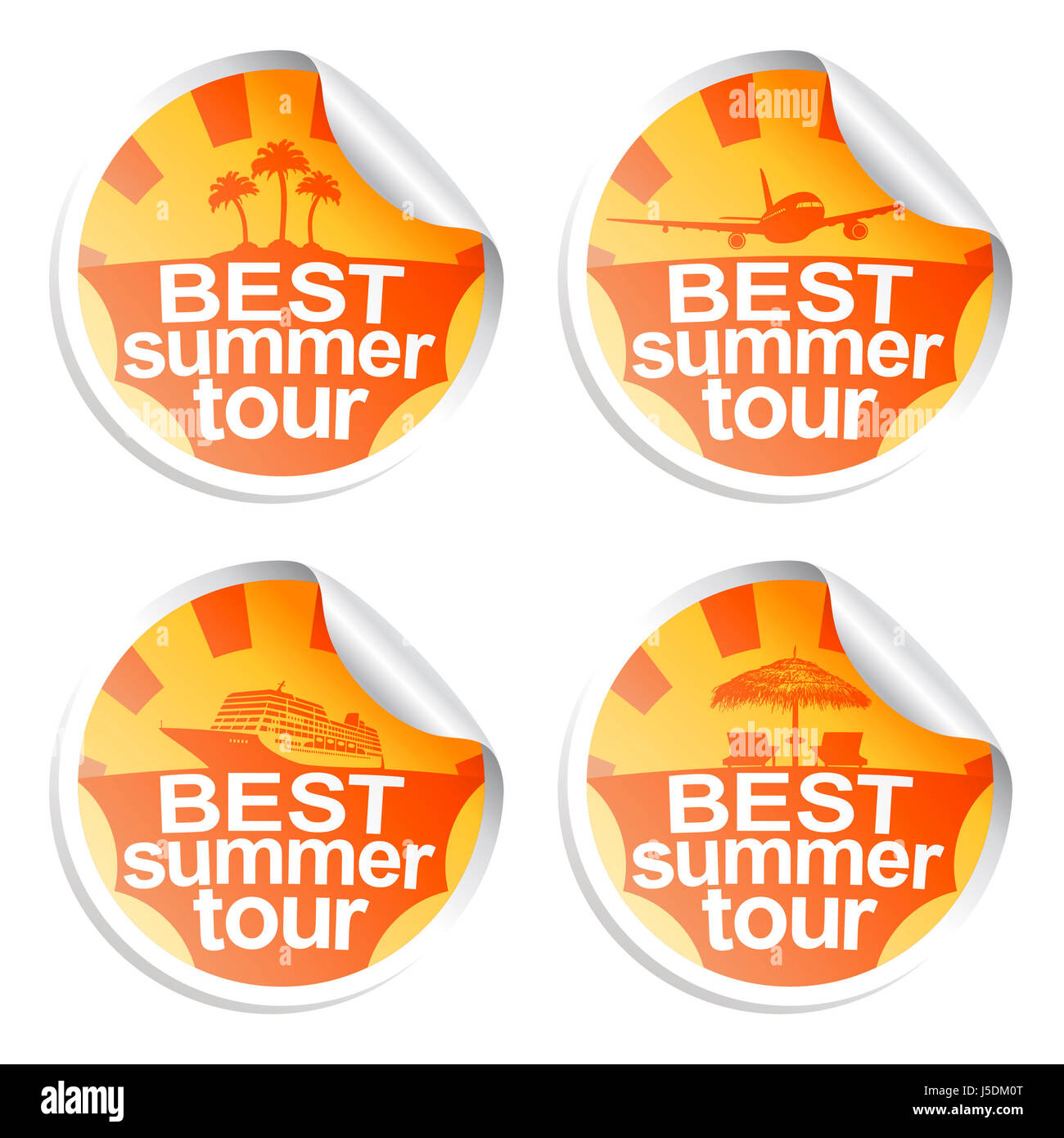 Set summer stickers of best tour - Stock Image