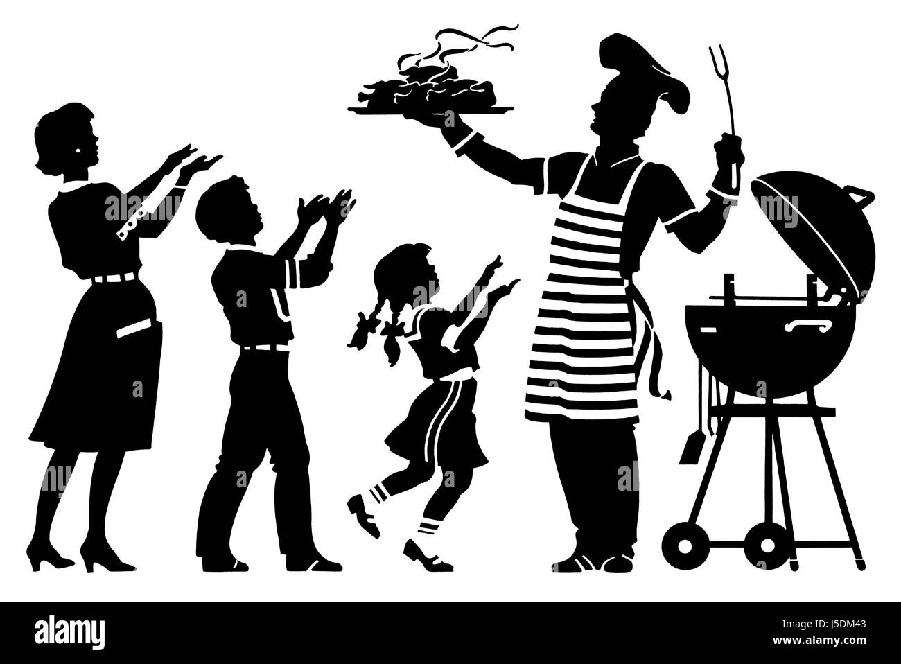 Family having barbecue - Stock Image