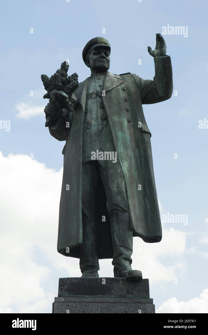 Monument to Soviet military commander Ivan Konev by Czech sculptor Zdeněk Krybus (1980) in Dejvice district in Prague, - Stock Image