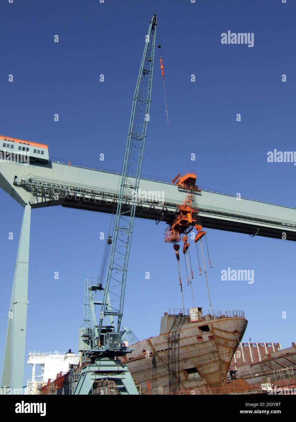 shipyard neuenfelde v - Stock Image
