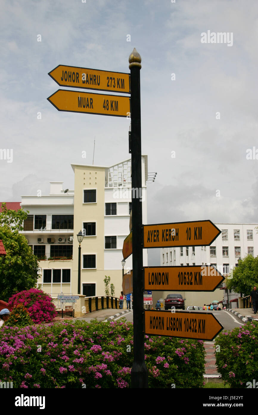city town asia malaysia distances shield traveling trip journey straenschild - Stock Image
