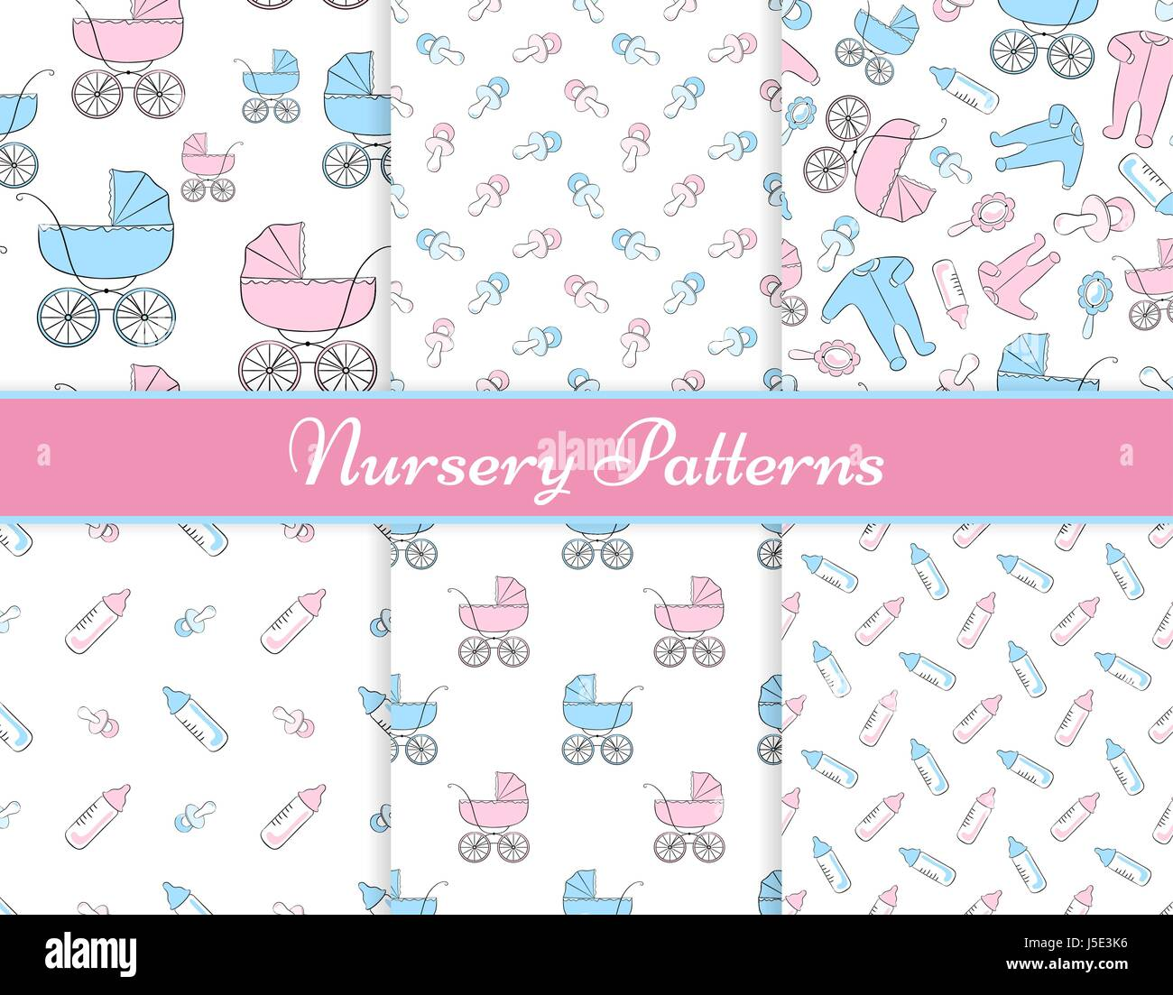 43cee8e9c Set of six seamless vector patterns with items for newborn  baby ...
