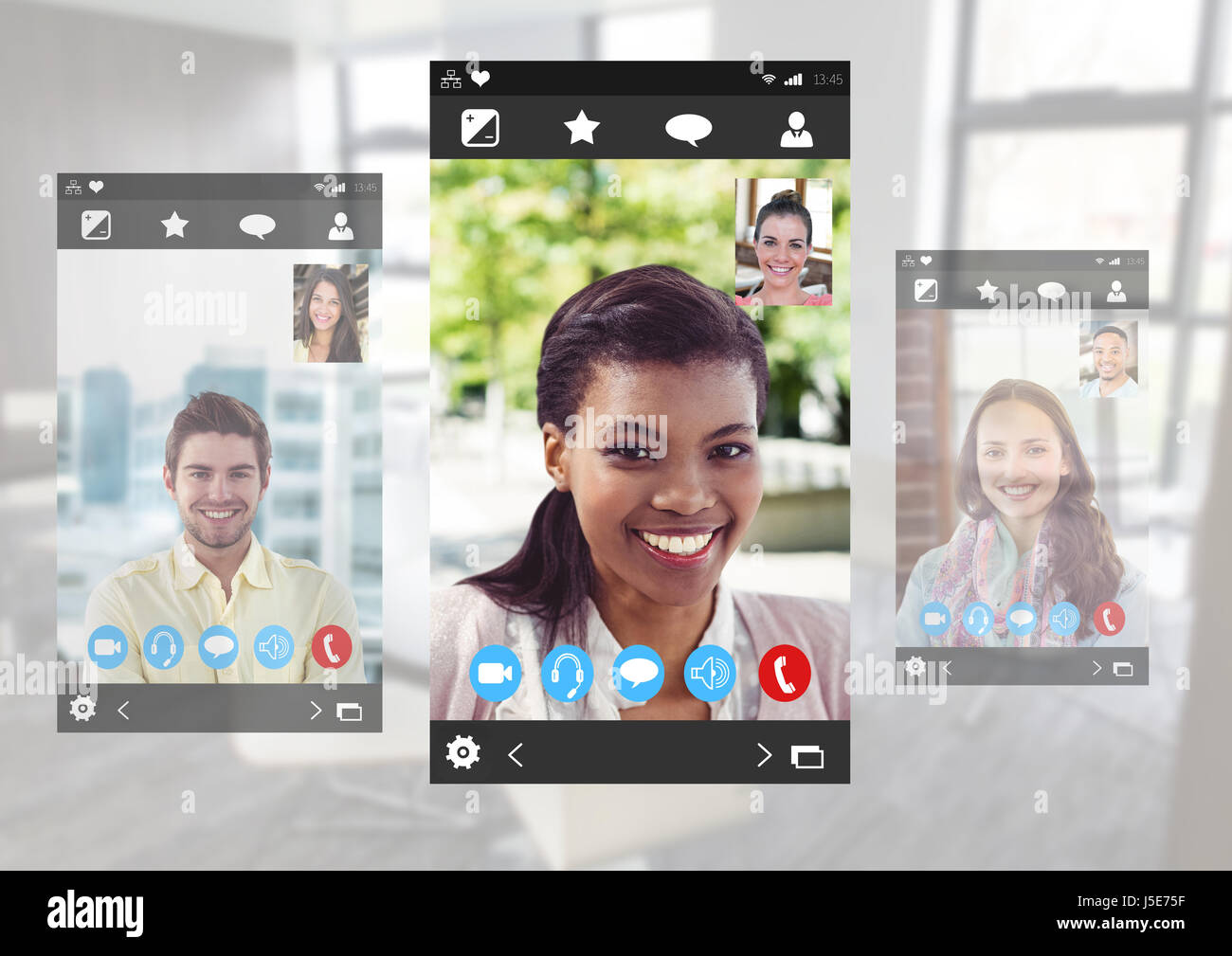 Digital composite of Social Video Chat App Interface - Stock Image