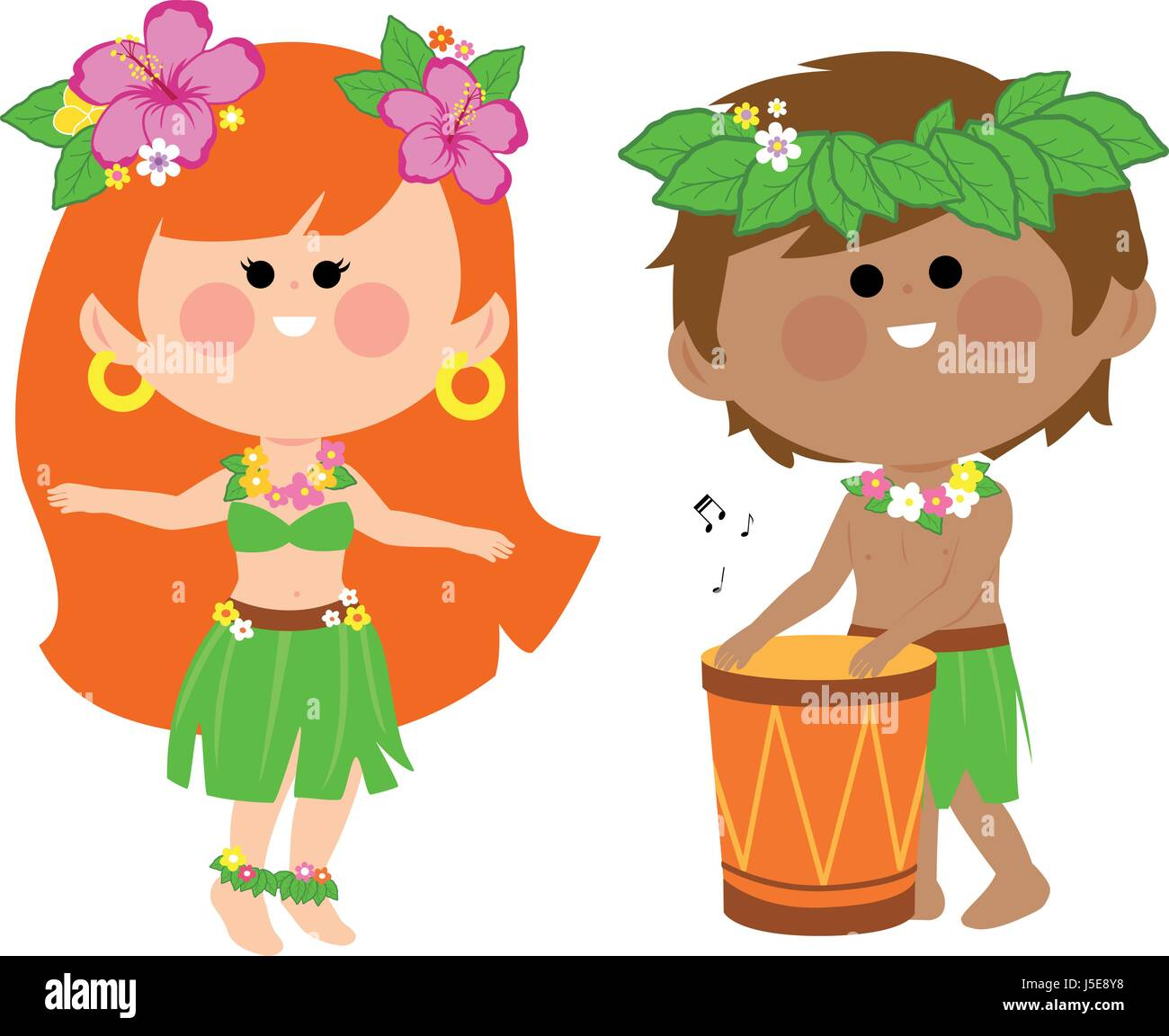 Hawaiian children playing music with a drum and hula dancing - Stock Vector