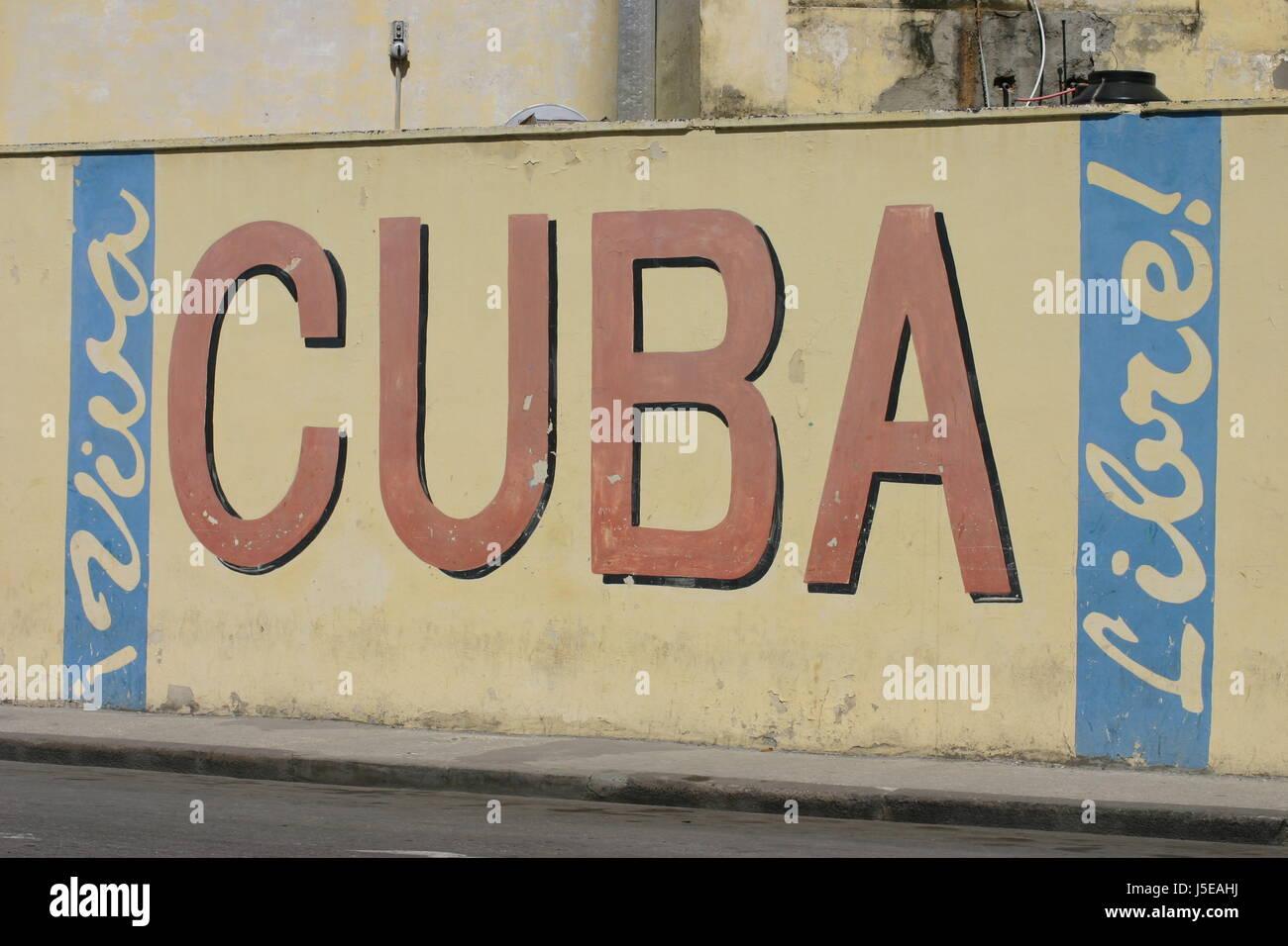 wall,poster,cuba,caribbean,cuba,havanna,schriftzug,strasse - Stock Image