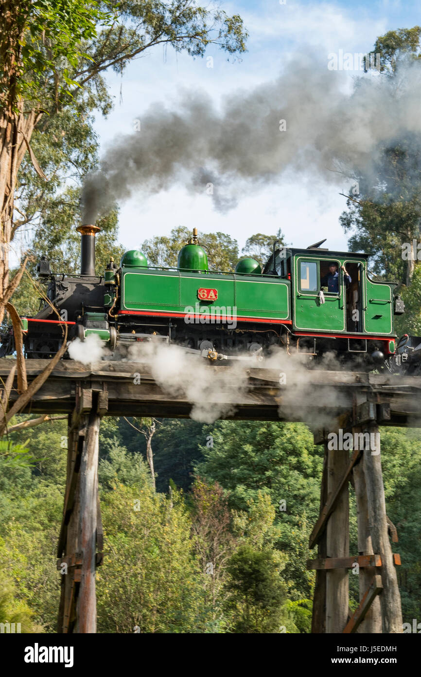 Puffing Billy 6A on Selby Trestle Bridge, Melbourne, Victoria, Australia - Stock Image