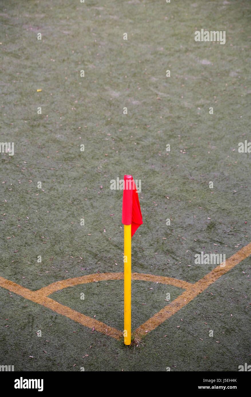 sport sports ball sport flag ash corner marking angle sports field kick corner Stock Photo