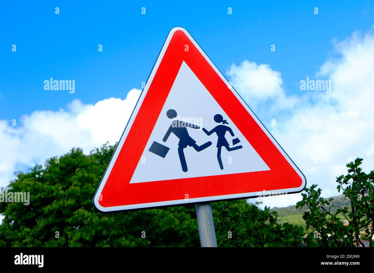 school road crossing sign, sardinia, italy - Stock Image