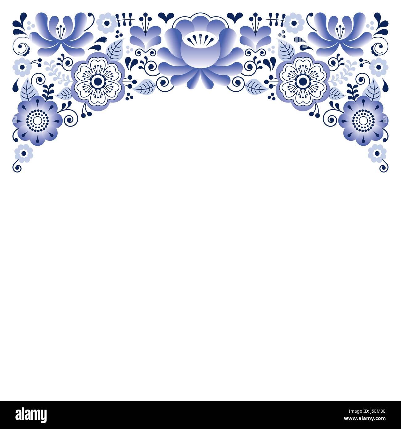 Russian floral ornament, Gzhel style - wedding invitation, greetings ...