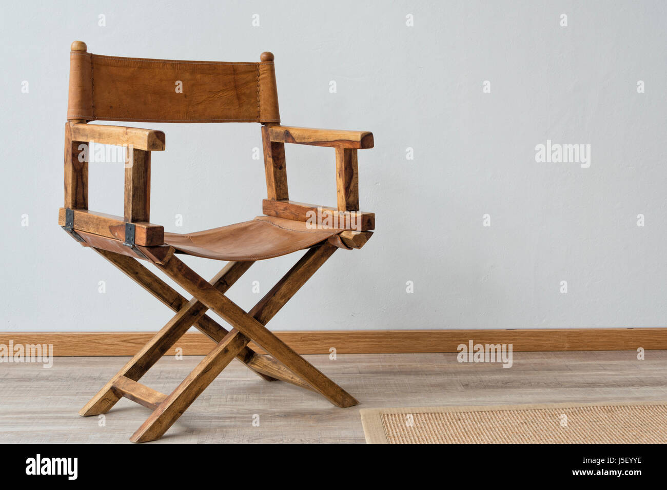 Wooden Directors Chair, Leather.   Stock Image