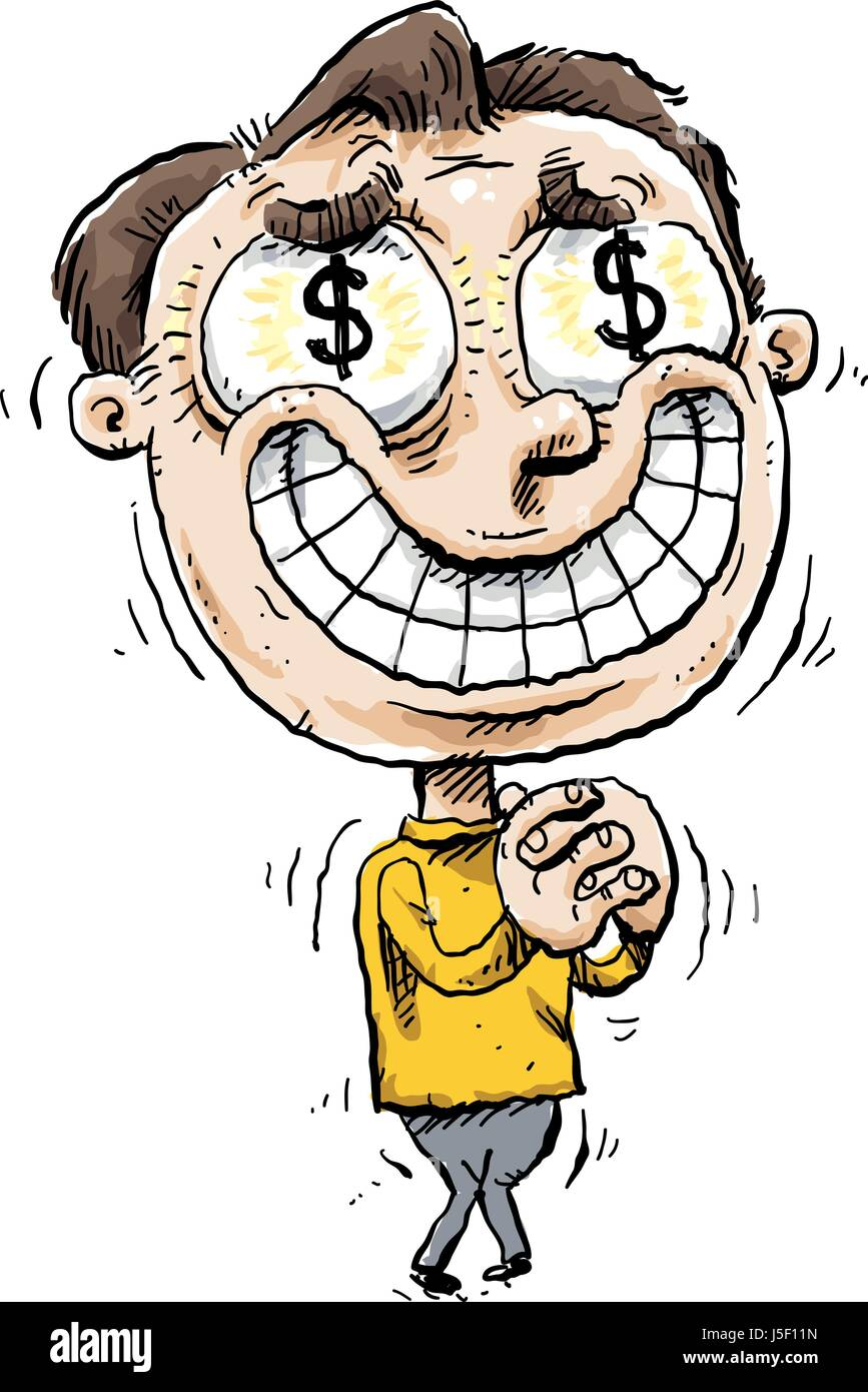 A shaking, smiling cartoon man overwhelmed by greed with dollar signs in his eyes. - Stock Vector