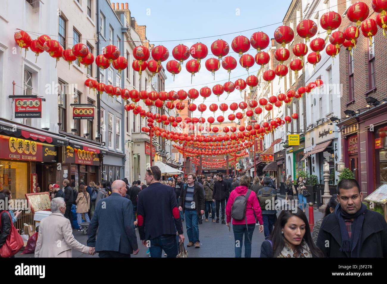 Chinese lanterns hanging above Wardour Street  in London's Chinatown - Stock Image
