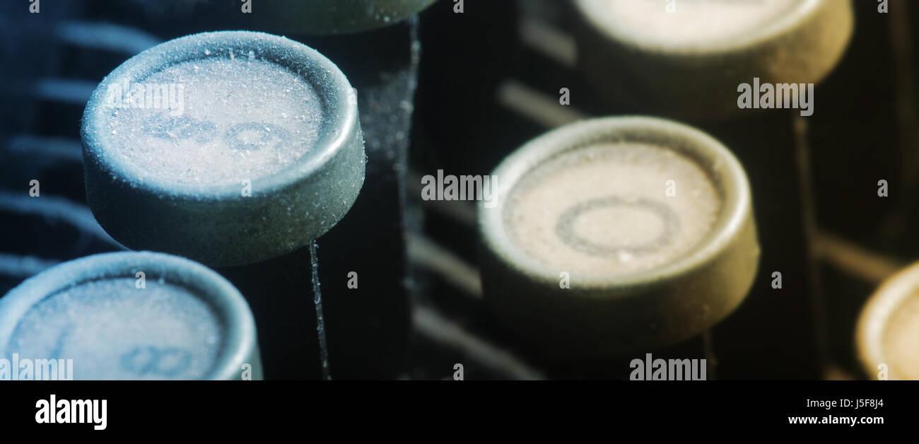 keyboard communication letters mud dusty letter typewriter alphabet ABC Stock Photo