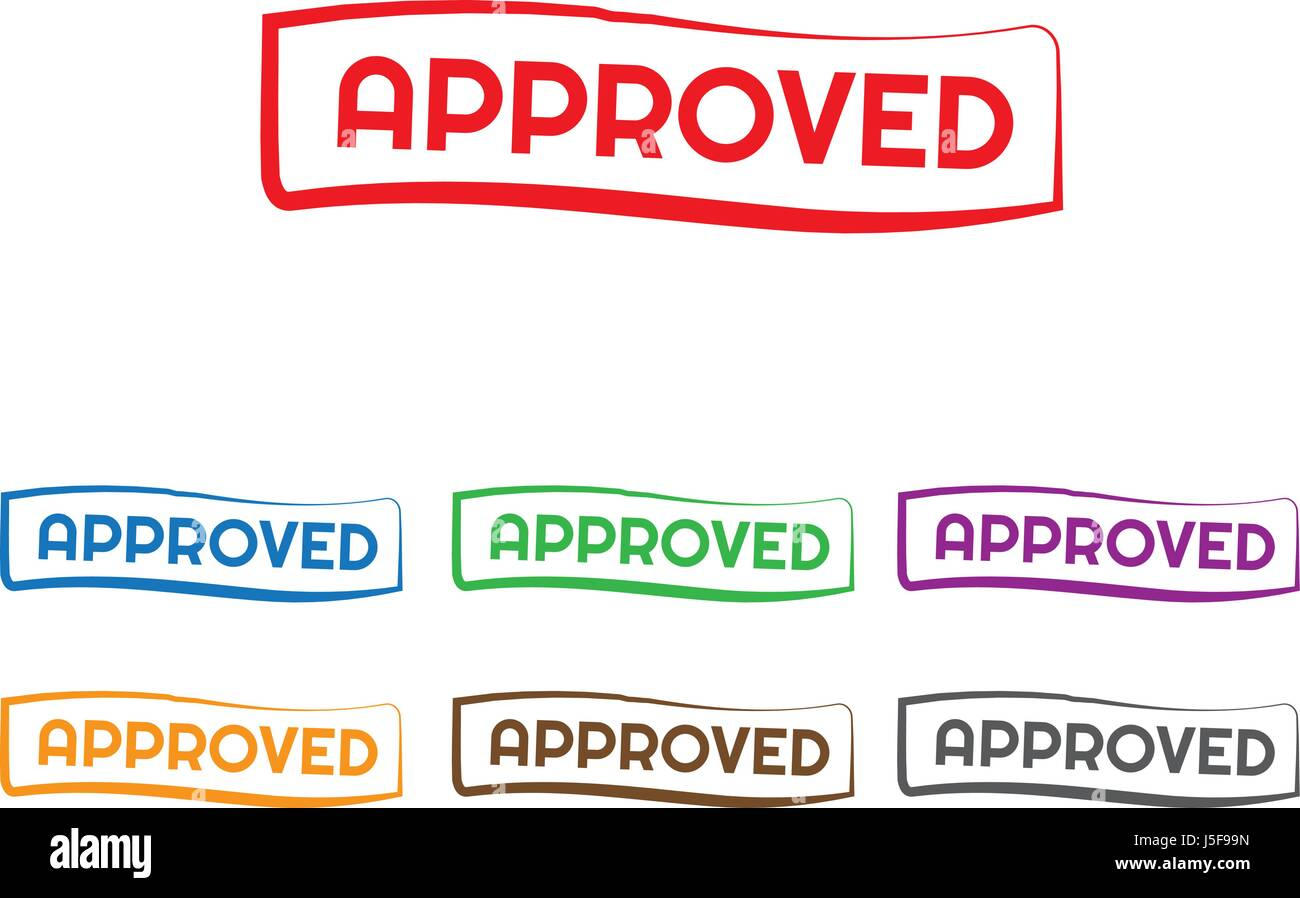 vector approved stamp with different colors Stock Vector