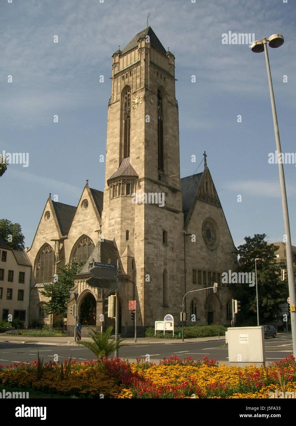 tower church coblenz christian medieval christianity steeple christuskirche Stock Photo