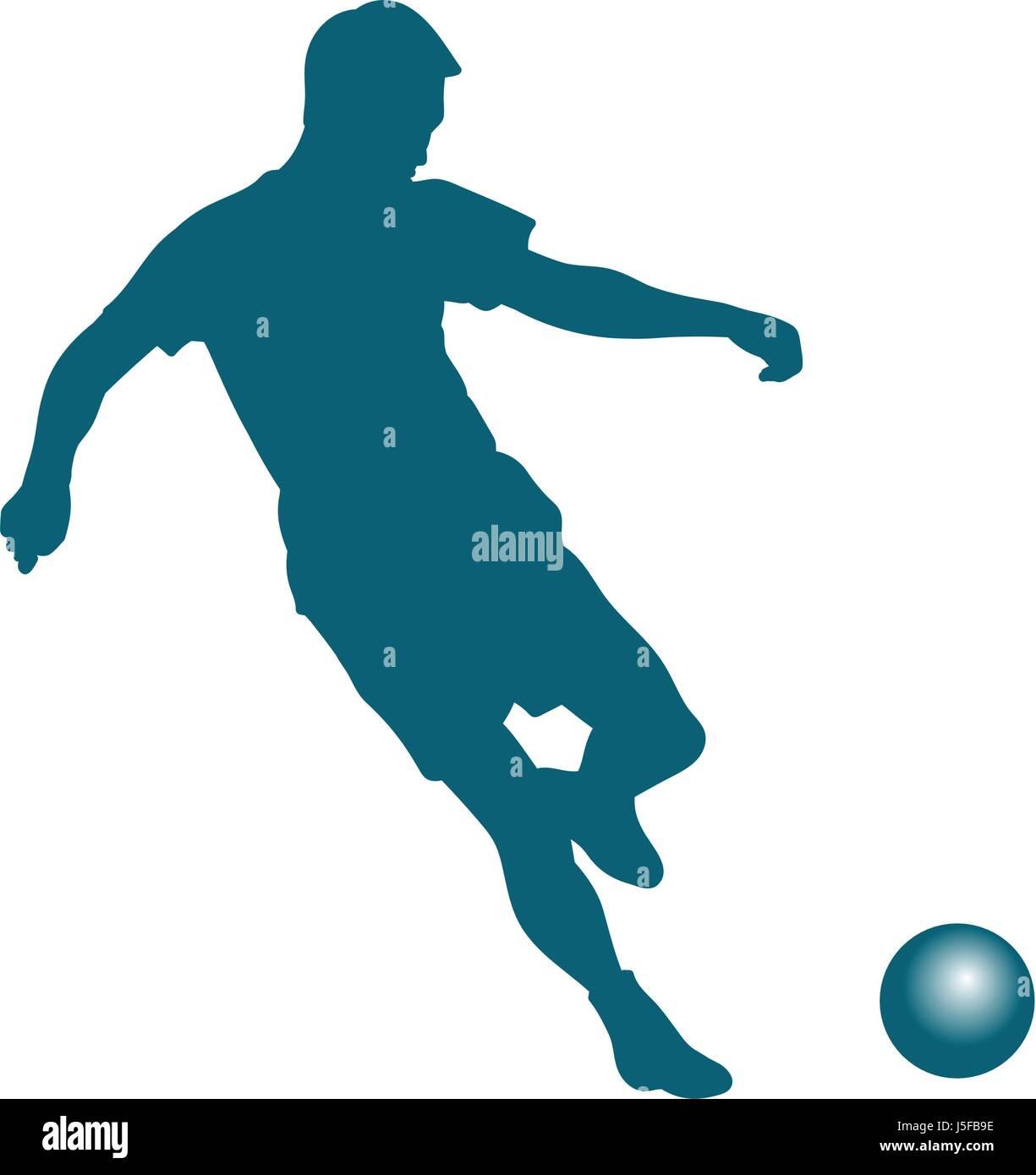 Silhouette of soccer player striking the ball - vector illustration Stock Vector