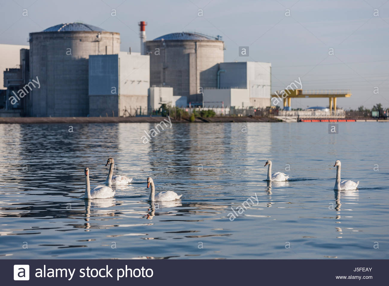 The Nuclear power plant in Fessenheim/France is located on the Grand Canal d'Alsace close to the French-German - Stock Image