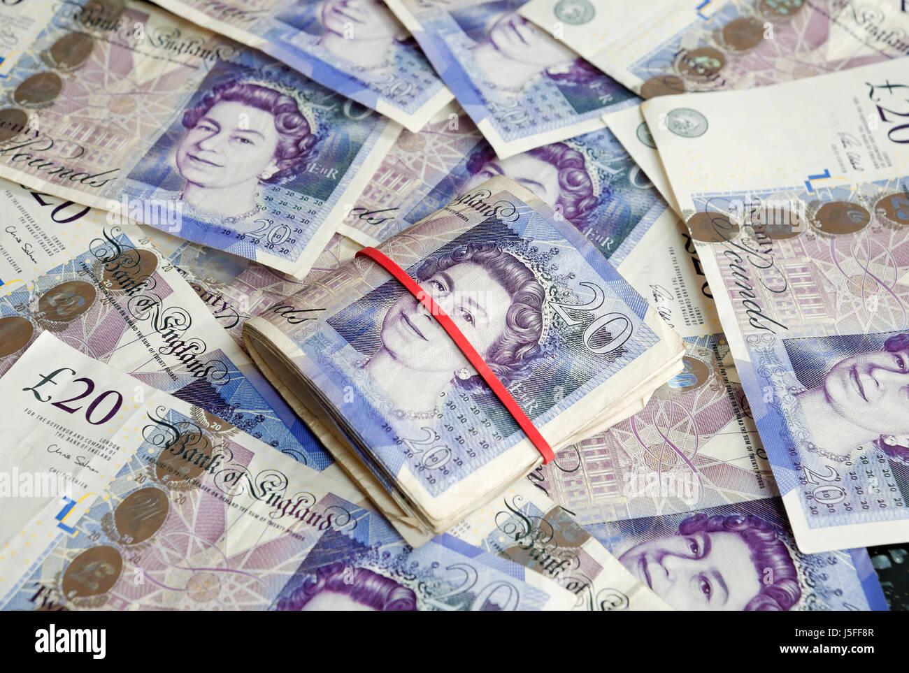 English twenty pound notes England UK United Kingdom GB Great Britain - Stock Image
