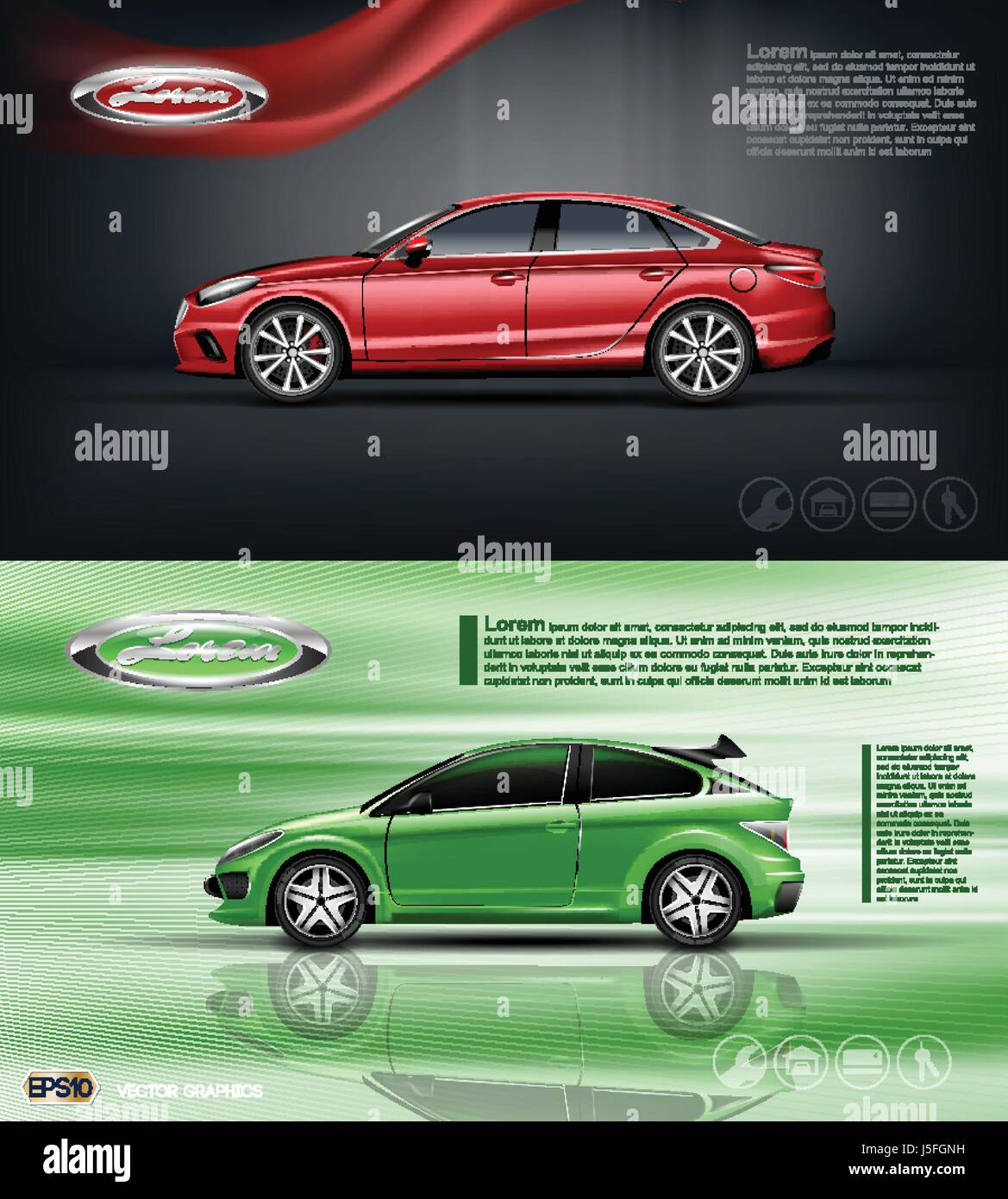 Digital vector red and green model sedan car with black