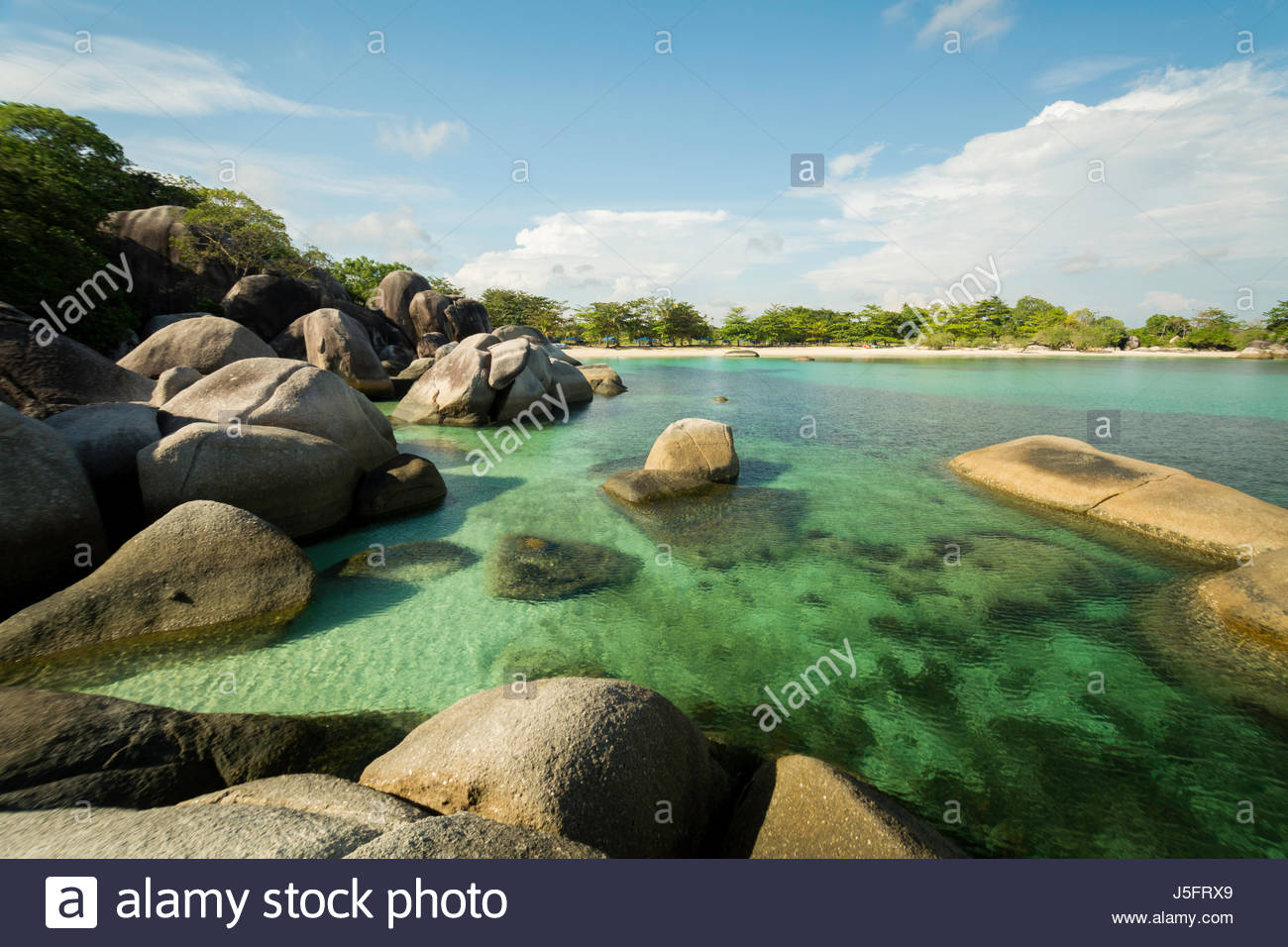 View of Tanjung Tinggi Beach From The Top of Granites Cluster - Stock Image