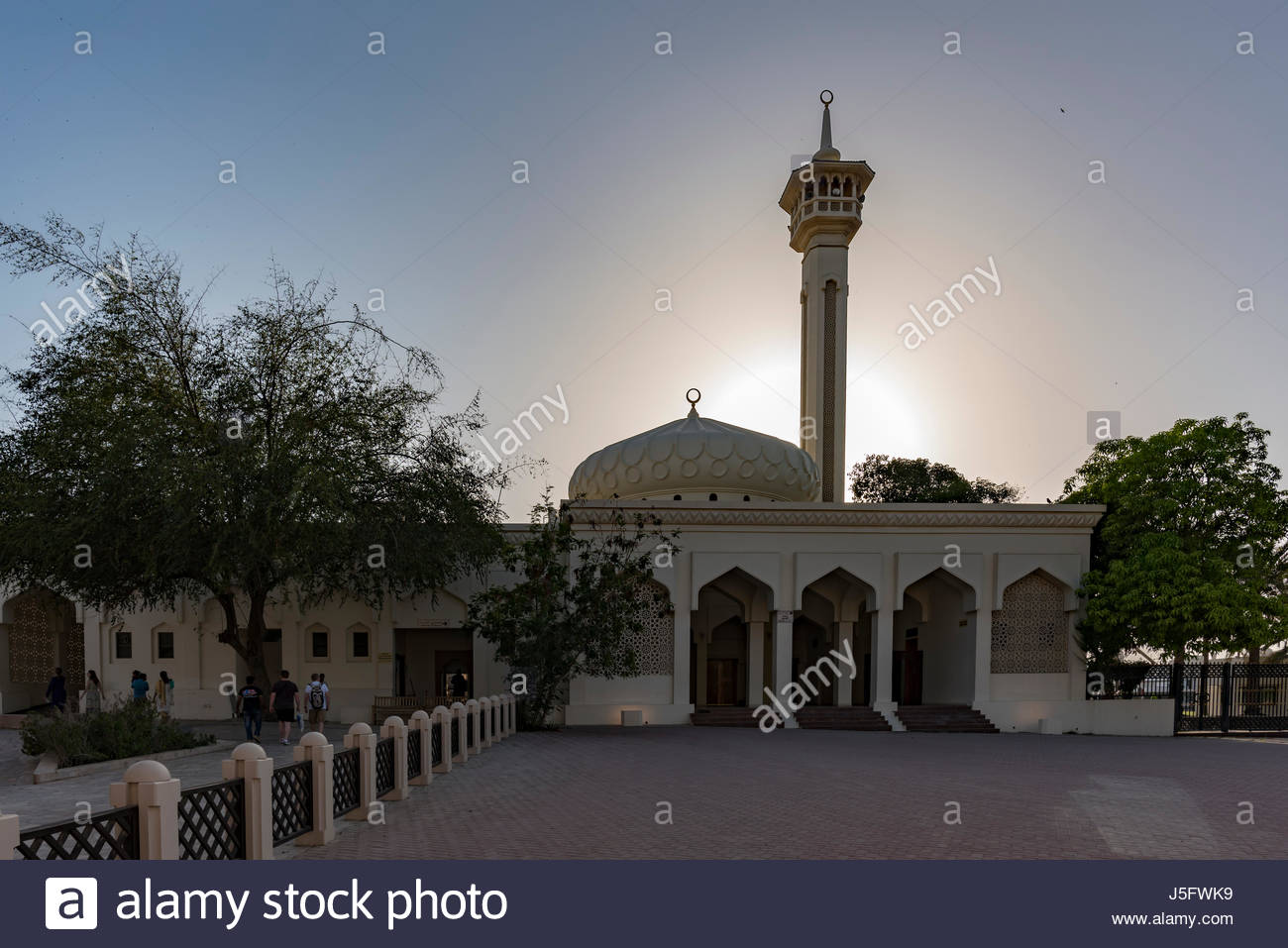 Mosque Al Fahidi Historical Neighborhood - construction started back to the 1890s -(known as Al Bastakiya Quarter), - Stock Image