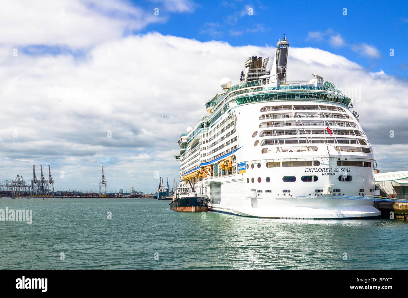 The Explorer of the Seas cruise liner at the Port of Southampton - Stock Image