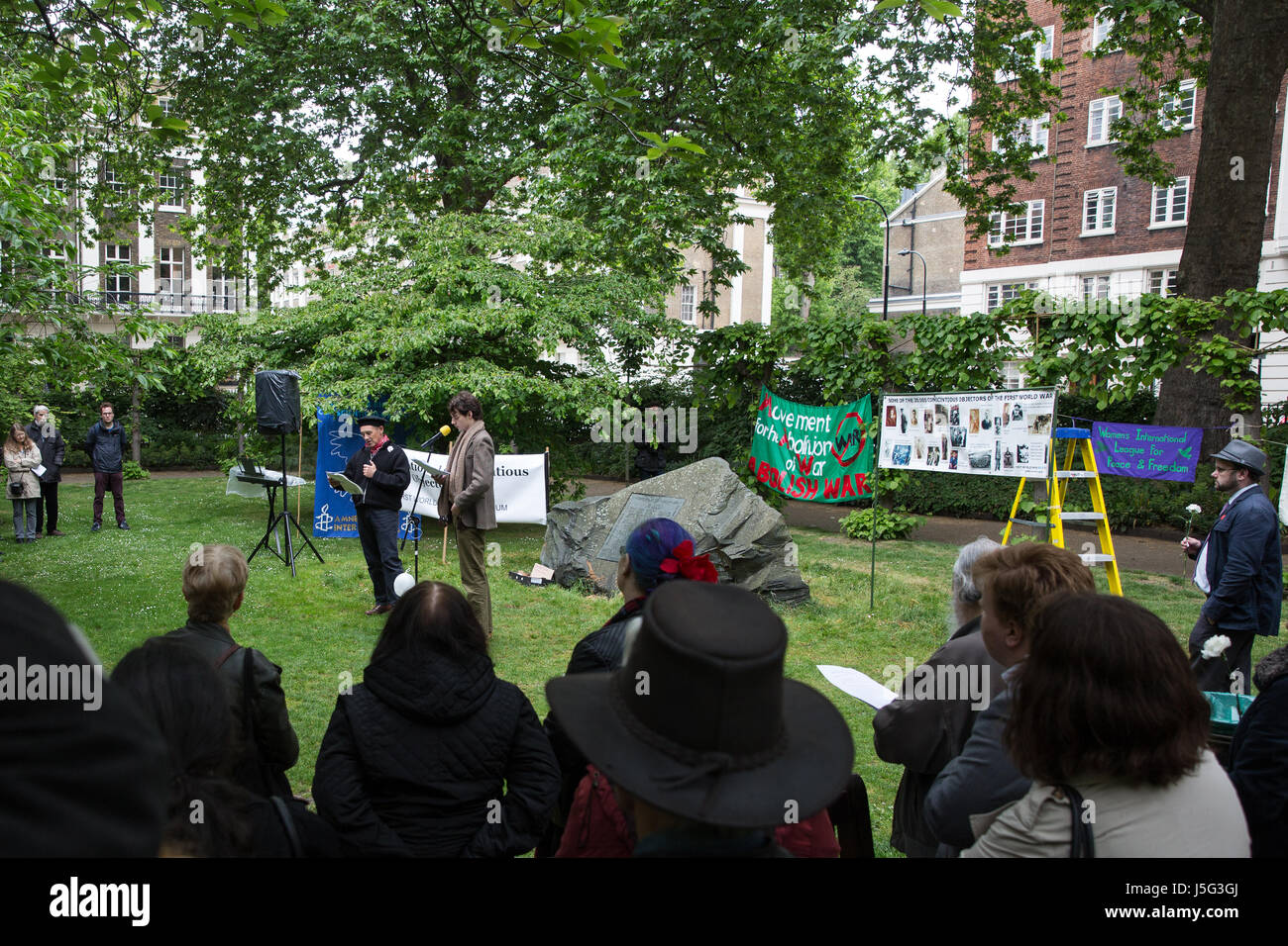 London, UK. 15th May, 2017. Sir Mark Rylance and Patrick Walshe McBride address peace campaigners in Tavistock Square - Stock Image
