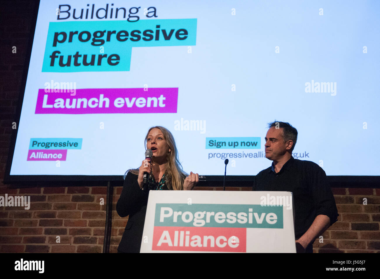 London, UK. 15th May, 2017. Sian Berry and Jonathan Bartley, Green Party co-leader, address the launch event for - Stock Image