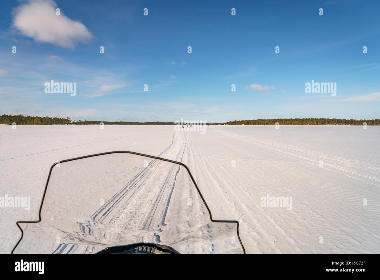 Snowmobile windshield, Lapland, Sweden - Stock Image