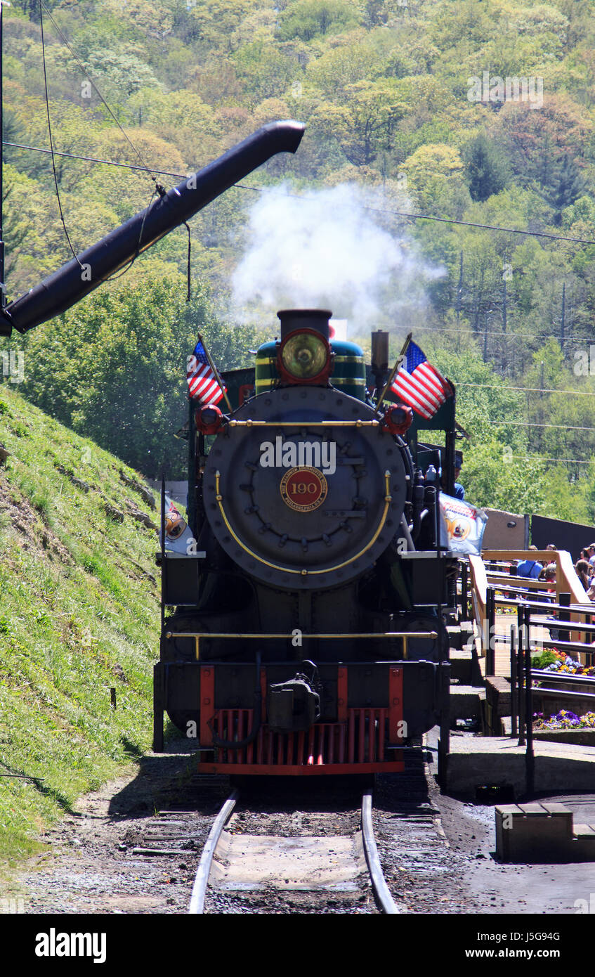 Yukon Queen Steam Locomotive Engine and Train at Tweetsie Railroad amusement park Blowing Rock North Carolina - Stock Image