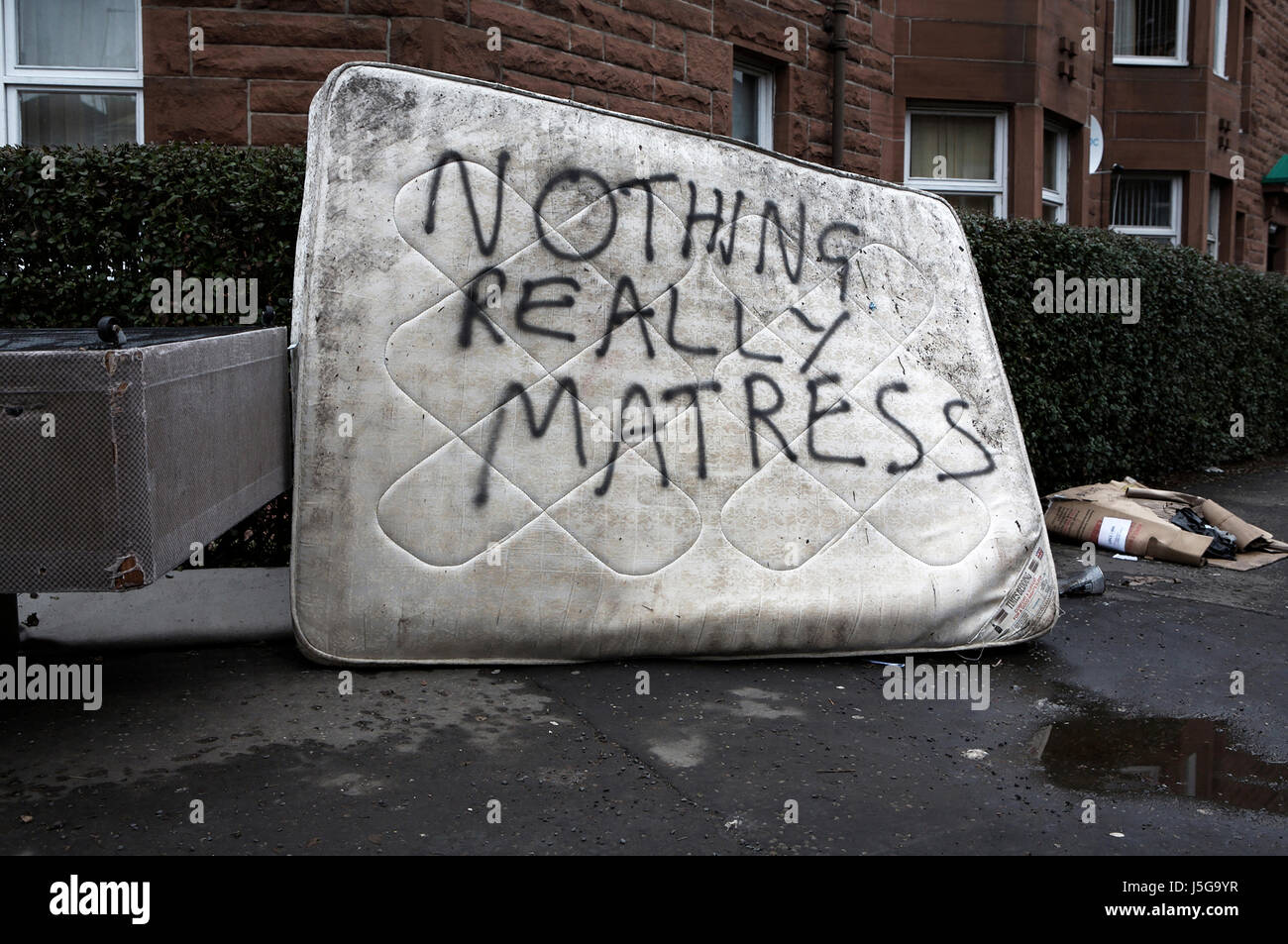 Abandoned Mattress in Glasgow, Scotland - Stock Image