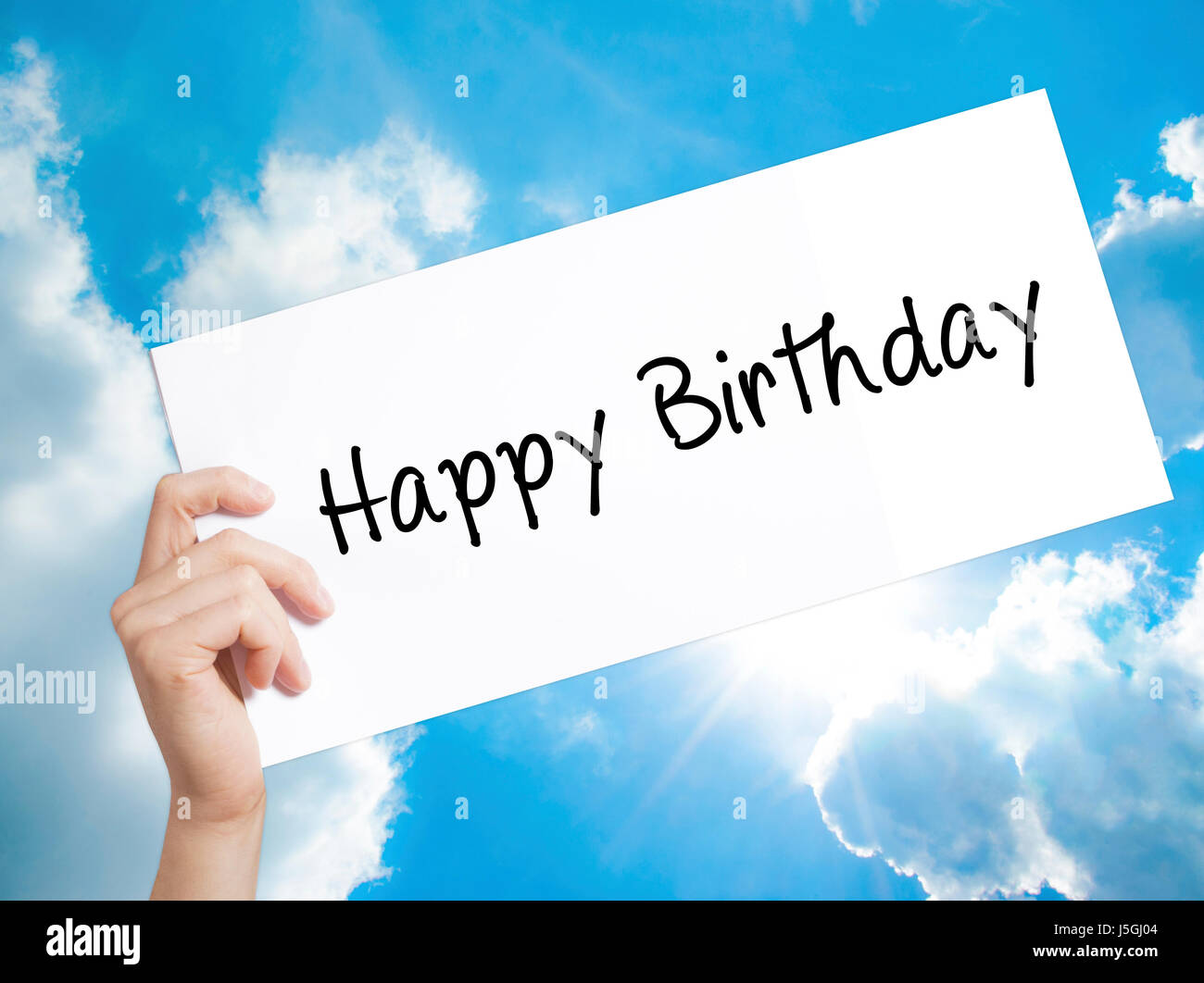 Happy Birthday Sign On White Paper Man Hand Holding Paper With Text Stock Photo Alamy