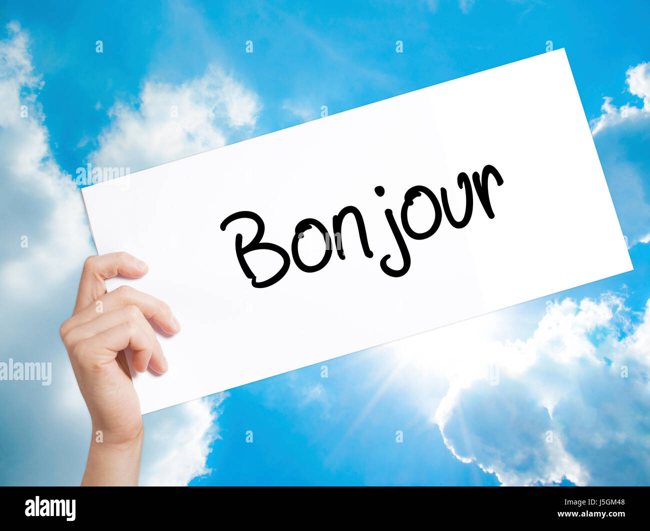 Bonjour Good Morning In French Sign On White Paper Man Hand Stock