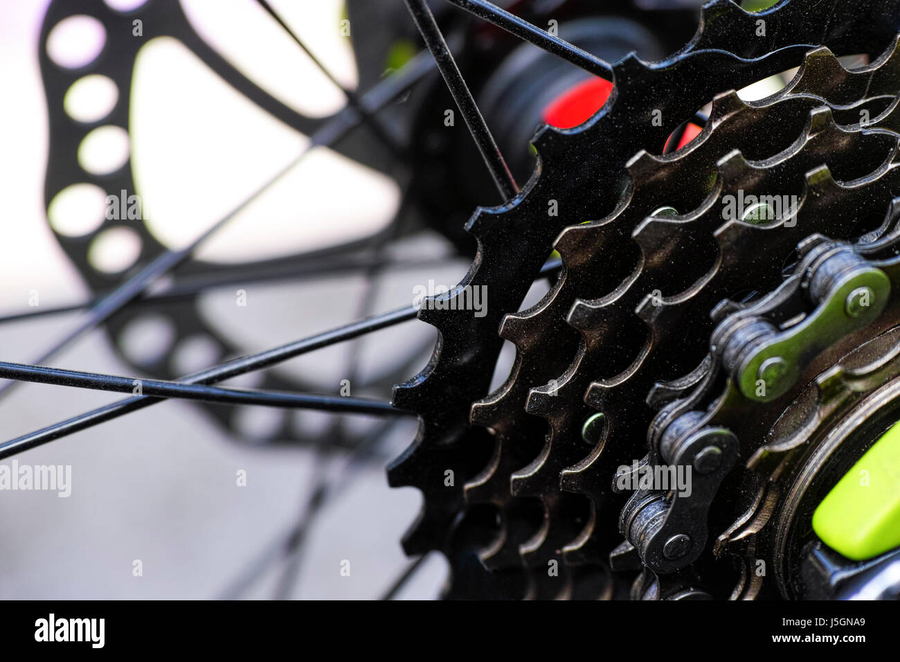 Gear cassette on bicycle. Close-up. - Stock Image
